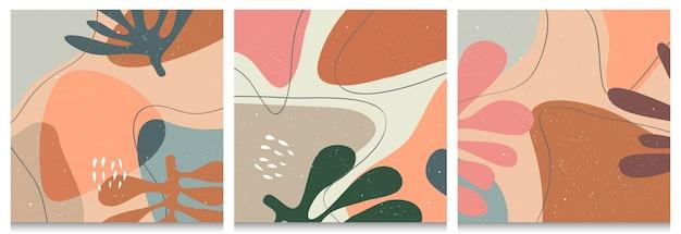 Conjunto desenhado à mão de várias formas e objetos orgânicos