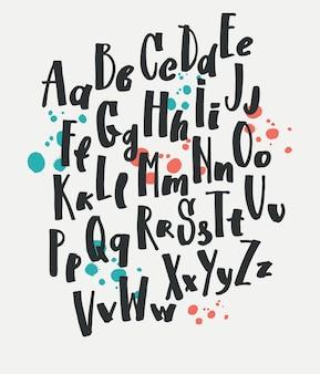 Conjunto desenhado à mão do tipo conjunto de letras