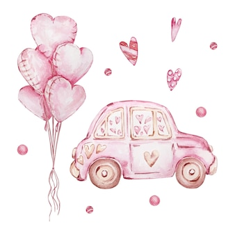 Conjunto desenhado à mão em aquarela de carro rosa e balões em forma de coração isolados no fundo branco