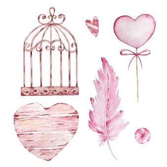 Conjunto desenhado à mão em aquarela de gaiola, penas e corações isolados no fundo branco
