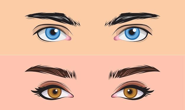 Conjunto desenhado à mão, homens e meninas fecham a ilustração vetorial da área dos olhos