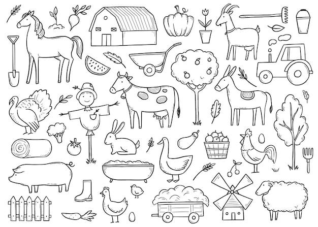 Conjunto desenhado à mão para fazendeiros de animais de fazenda