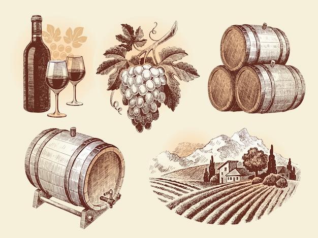 Conjunto desenhado à mão - vinho e vinificação