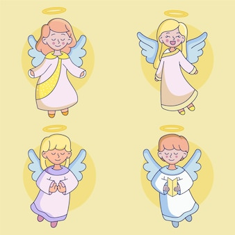 Conjunto desenhado de anjos de natal