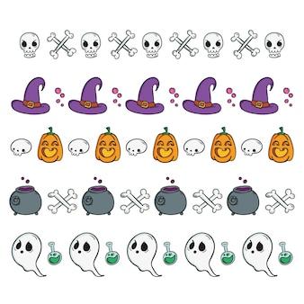 Conjunto desenhado de bordas de halloween