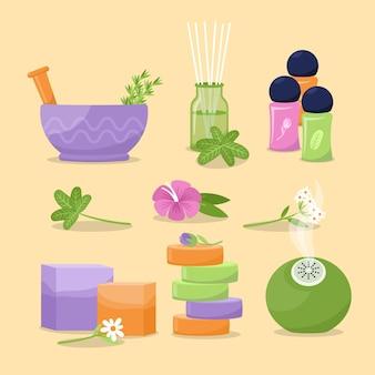 Conjunto desenhado de elementos de aromaterapia