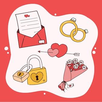 Conjunto desenhado de mão de elementos do dia dos namorados.
