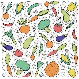 Conjunto desenhado de mão de elementos vegetais. ilustração do estilo do doodle.