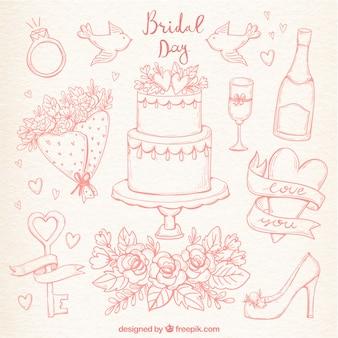 Conjunto desenhado mão de elementos bonitos do casamento