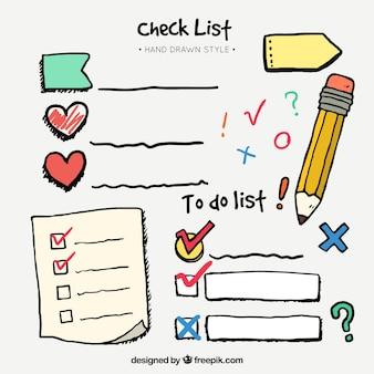 Conjunto desenhado mão de lista de verificação e elementos decorativos