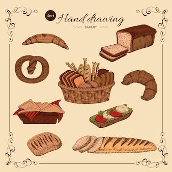 Conjunto desenhado mão de padaria colorido