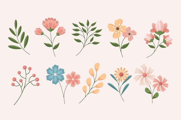 Conjunto detalhado de belas flores de primavera