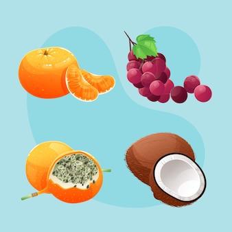 Conjunto detalhado de deliciosas frutas
