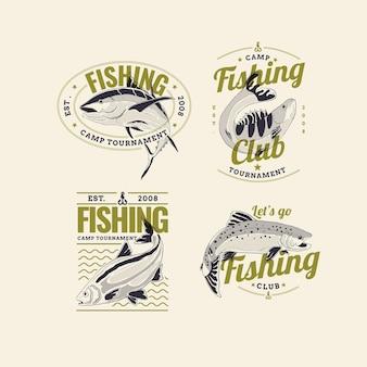 Conjunto detalhado de distintivos de pesca vintage