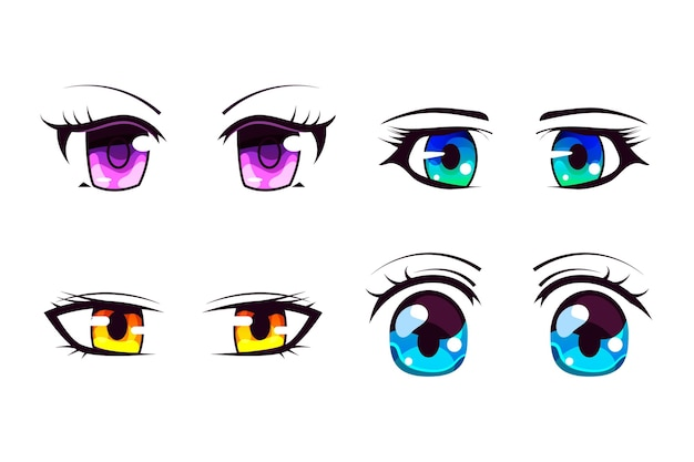 Conjunto detalhado de olhos de anime