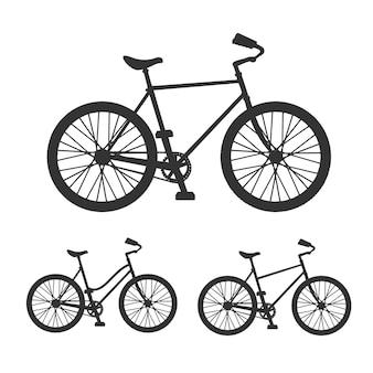 Conjunto detalhado de silhueta de bicicleta em preto e branco