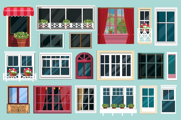Conjunto detalhado de várias janelas coloridas com peitoris, cortinas, flores, varandas.
