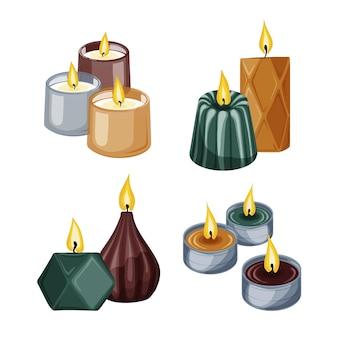 Conjunto detalhado de velas perfumadas