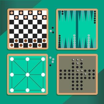 Conjunto diversificado ilustrado de jogos de tabuleiro