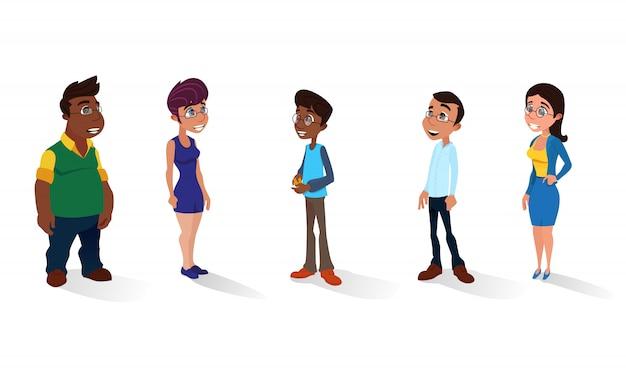 Conjunto diverso de pessoas multirraciais isolado no branco