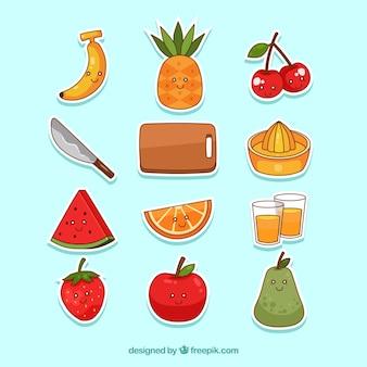 Conjunto divertido de adesivos de frutas