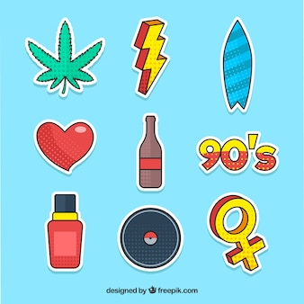 Conjunto divertido de adesivos pop art