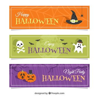 Conjunto divertido de banners felizes de halloween