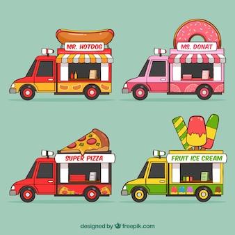 Conjunto divertido de caminhões de comida desenhados à mão