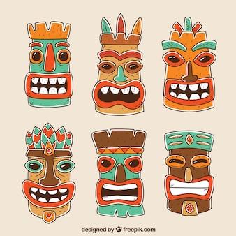 Conjunto divertido de máscaras hawiianas desenhadas a mão