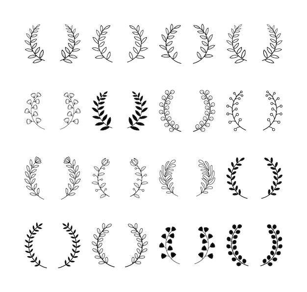 Conjunto divisor de folhas e divisores florais. ramos de quadros de grinaldas de louros.