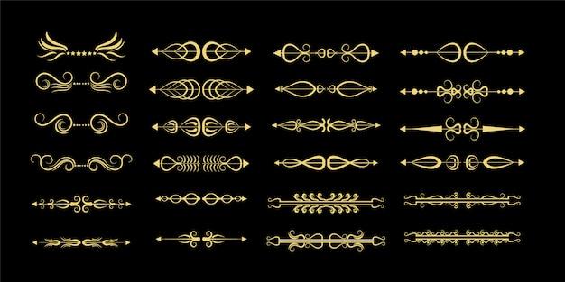 Conjunto divisor ornamental dourado