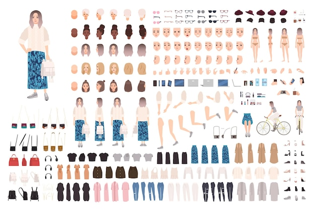 Conjunto diy de animação feminina na moda