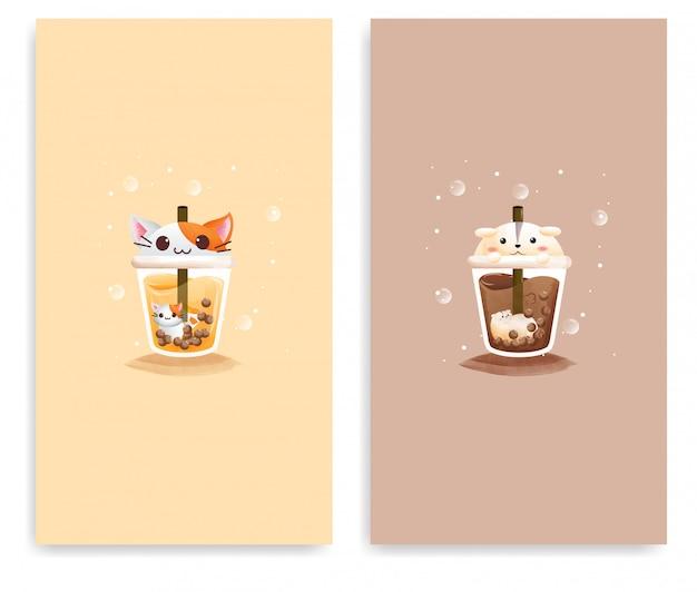 Conjunto do copo modelo de suco de melão com um gato e o copo de cacau gelado com hamster.