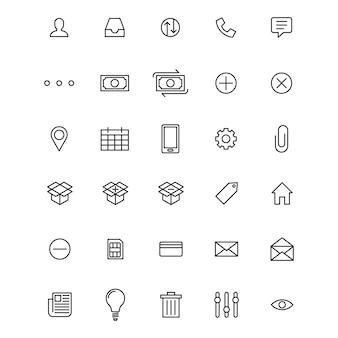 Conjunto do ícone básico da interface do usuário