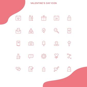 Conjunto do ícone do dia de valentim