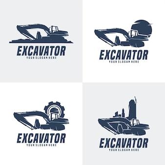 Conjunto do logotipo de construção da máquina escavadeira