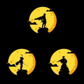 Conjunto do logotipo dos ninjas do japão à noite