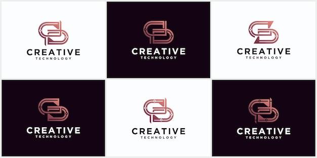 Conjunto do logotipo s com espaço negativo inicial do monograma letras criativas e minimalistas, design do ícone editável do logotipo s em formato