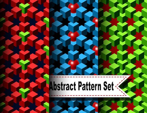 Conjunto do padrão abstrato com cubos e bolas