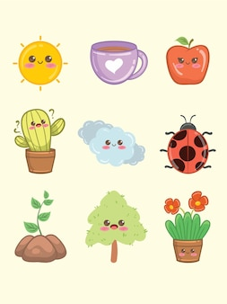 Conjunto do recurso de ilustração de personagem de temporada fofa de primavera e verão
