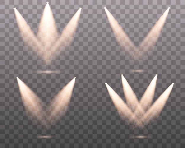 Conjunto do refletor branco amarelo brilha no palco, cena, pódio. efeito de luz do flash de lente de uso exclusivo de uma lâmpada ou holofote.