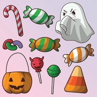 Conjunto doces e doces bonitos de halloween