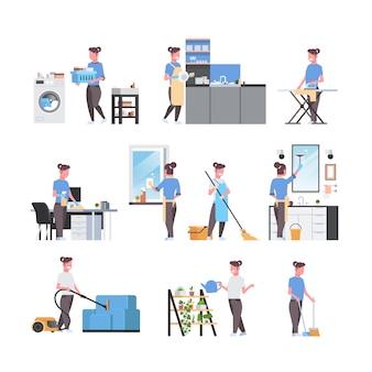 Conjunto dona de casa fazendo trabalhos domésticos diferentes housecleaning s coleção personagens de desenhos animados feminino