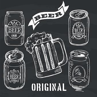 Conjunto doodle de cerveja can