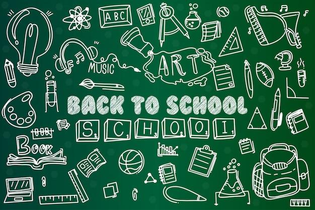 Conjunto doodle de volta para a escola