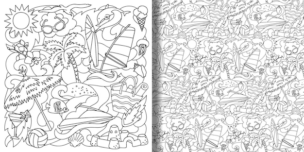 Conjunto doodle summer beach e padrão uniforme