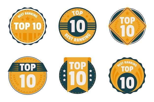 Conjunto dos 10 principais emblemas