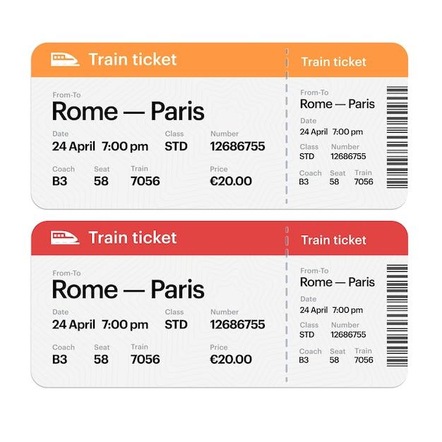 Conjunto dos bilhetes de embarque de trem