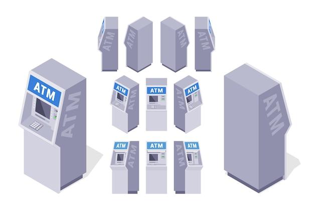 Conjunto dos caixas eletrônicos isométricos