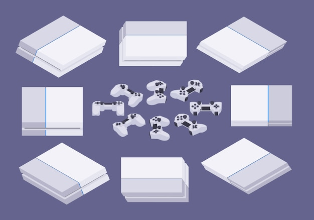 Conjunto dos consoles de jogos isométricos white nextgen